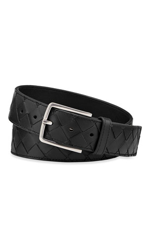 Bottega Veneta Men's Cintura Intrecciato Leather Belt