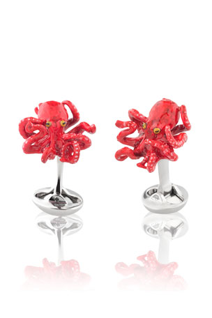 Fils Unique Sixteen Legs Octopus Cufflinks, Red