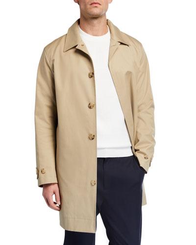 Men's Mac Solid Cotton Topcoat