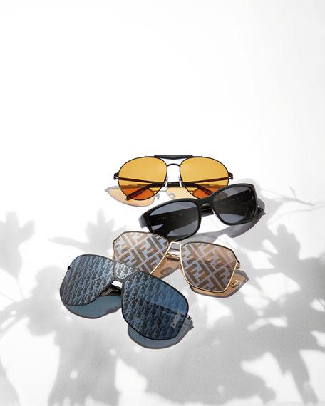Fendi Men's Mirrored FF-Monogram Square Metal Sunglasses