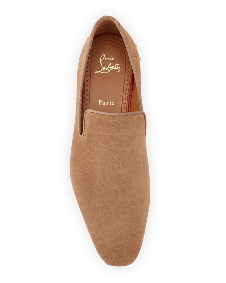 Image 2 of 5: Christian Louboutin Men's Marquees Suede Spike-Heel Loafers