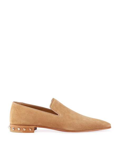 Image 3 of 5: Christian Louboutin Men's Marquees Suede Spike-Heel Loafers