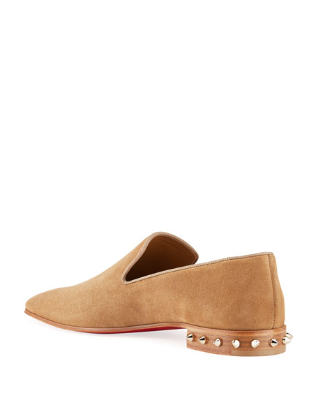 Image 4 of 5: Christian Louboutin Men's Marquees Suede Spike-Heel Loafers
