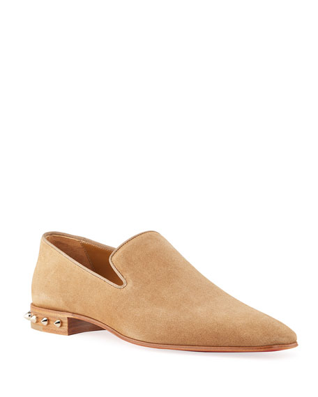 Image 1 of 5: Christian Louboutin Men's Marquees Suede Spike-Heel Loafers