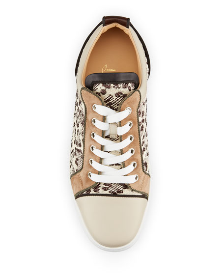 Image 2 of 2: Christian Louboutin Men's Louis Junior Orlato Leopard Raffia/Leather Sneakers