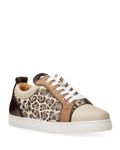 Image 1 of 2: Christian Louboutin Men's Louis Junior Orlato Leopard Raffia/Leather Sneakers