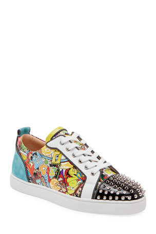 Christian Louboutin Men's Louis Junior Spikes Graphic Leather Sneakers