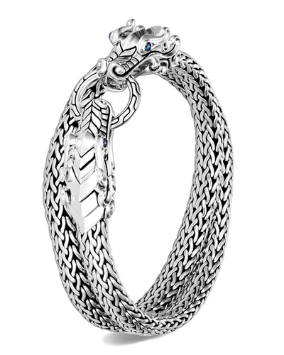 Men's Legends Naga Silver Chain Wrap Bracelet  Size M-L