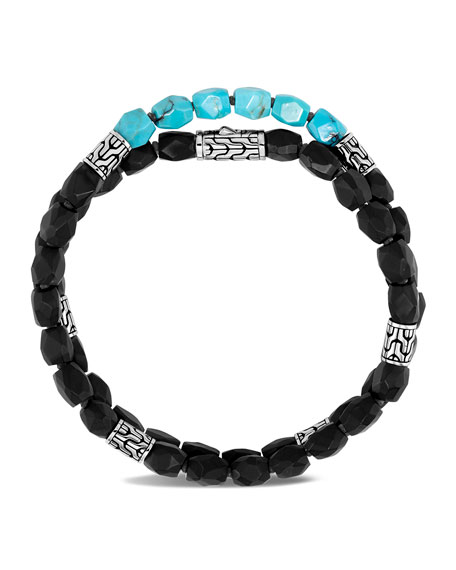 Image 2 of 3: John Hardy Men's Classic Chain Double-Wrap Bead Bracelet with Turquoise & Onyx, Size M-L
