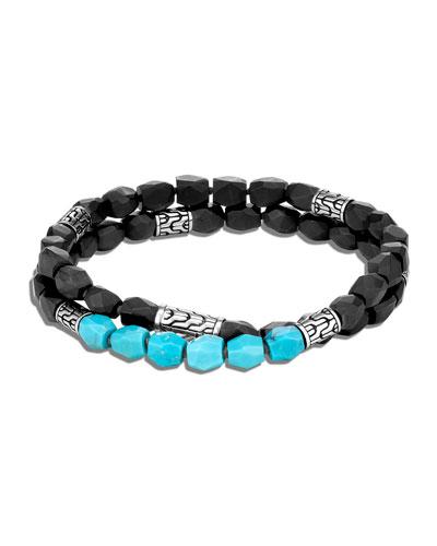 Men's Classic Chain Double-Wrap Bead Bracelet with Turquoise & Onyx  Size M-L