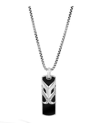 Men's Asli Classic Chain Onyx Dog Tag Necklace  24