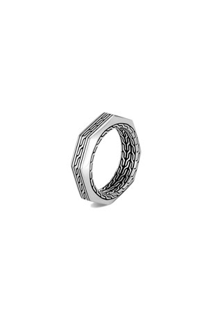 John Hardy Men's Classic Chain Silver Band Ring, Size 9-10