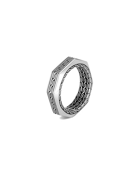 Image 1 of 2: John Hardy Men's Classic Chain Silver Band Ring, Size 9-10