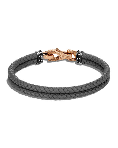 Image 2 of 2: John Hardy Men's Asli Classic Chain Woven Leather Bracelet with Bronze Clasp, Size M-L