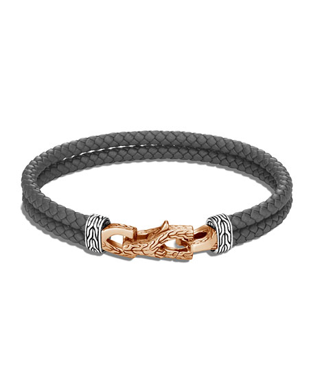 Image 1 of 2: John Hardy Men's Asli Classic Chain Woven Leather Bracelet with Bronze Clasp, Size M-L