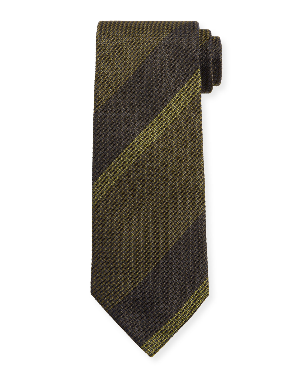 TOM FORD Large-Stripe Silk Tie, Green