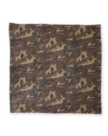 TOM FORD Men's Camo-Print Wool-Silk Scarf