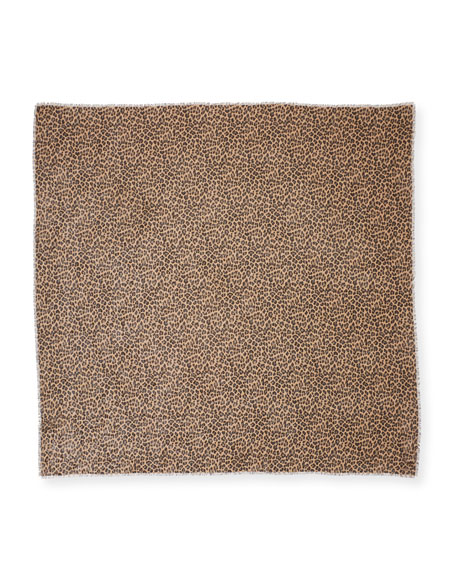 Image 2 of 2: TOM FORD Men's Leopard-Print Wool-Silk Scarf