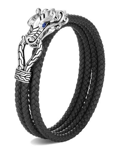Men's Legends Naga Woven Leather Wrap Bracelet  Size M-L
