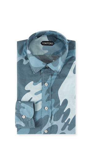 TOM FORD Men's Graphic Paint Wave Dress Shirt
