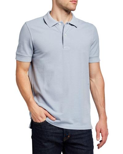 Men's Garment-Dyed Tennis Pique Polo Shirt
