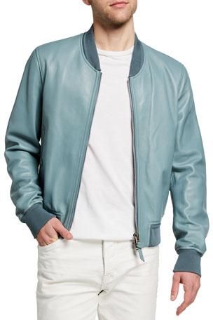 TOM FORD Men's Lamb Leather Bomber Jacket $5890.00