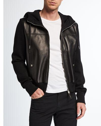 Men's Wool/Lamb Leather Hooded Jacket