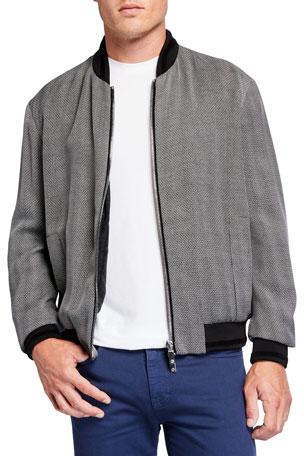 Giorgio Armani Men's Light Faux-Leather Jacket w/ Jacquard Lining