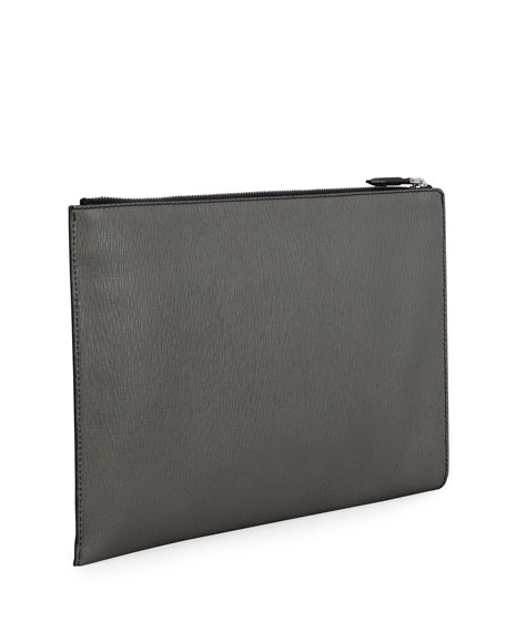Image 3 of 3: Salvatore Ferragamo Men's Revival Textured Leather Portfolio Case