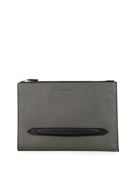 Image 1 of 3: Salvatore Ferragamo Men's Revival Textured Leather Portfolio Case