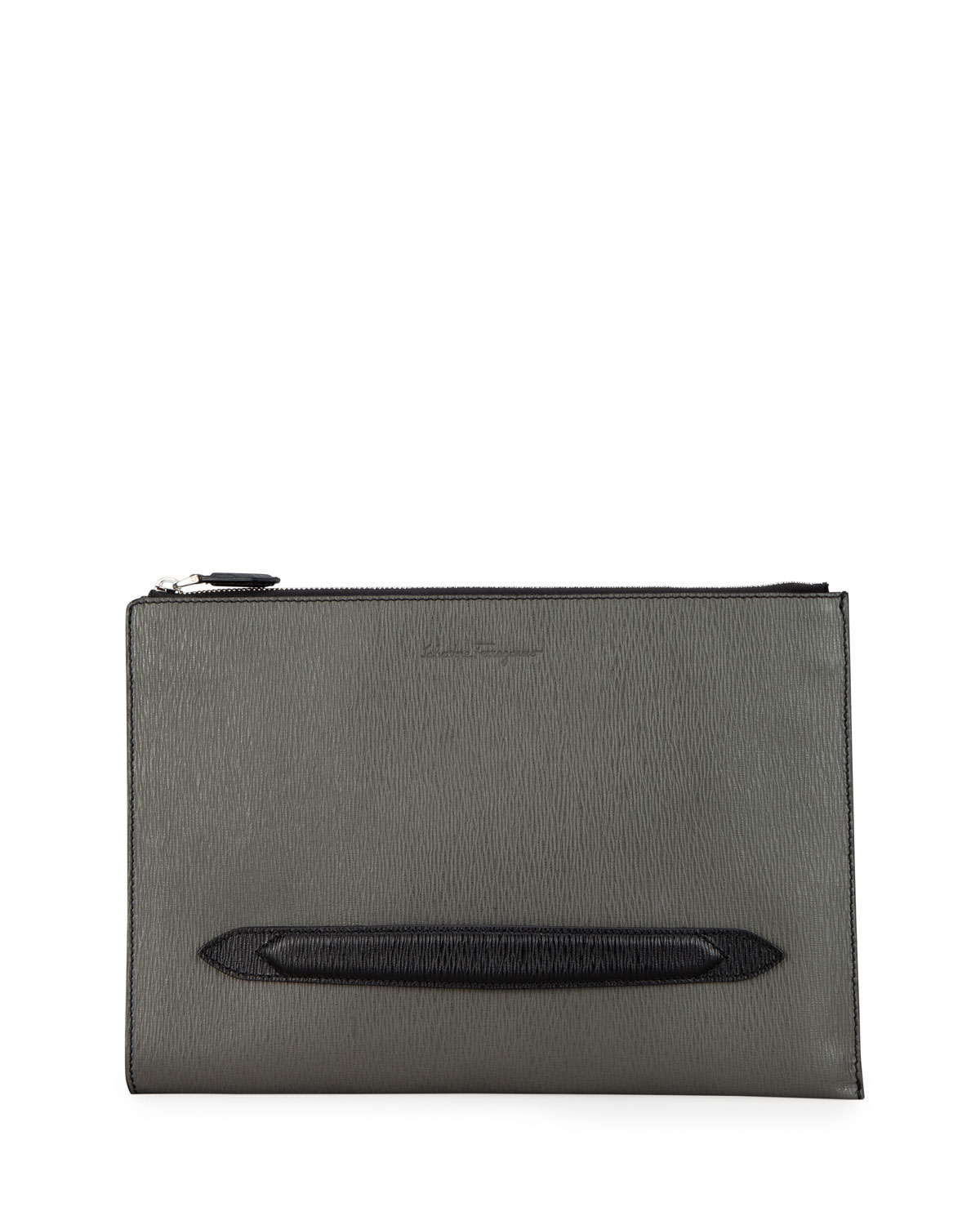 Salvatore Ferragamo Men's Revival Textured Leather Portfolio Case