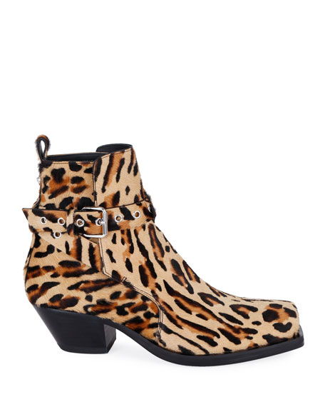 Versace Men's Leopard Calf Hair Ankle Boots