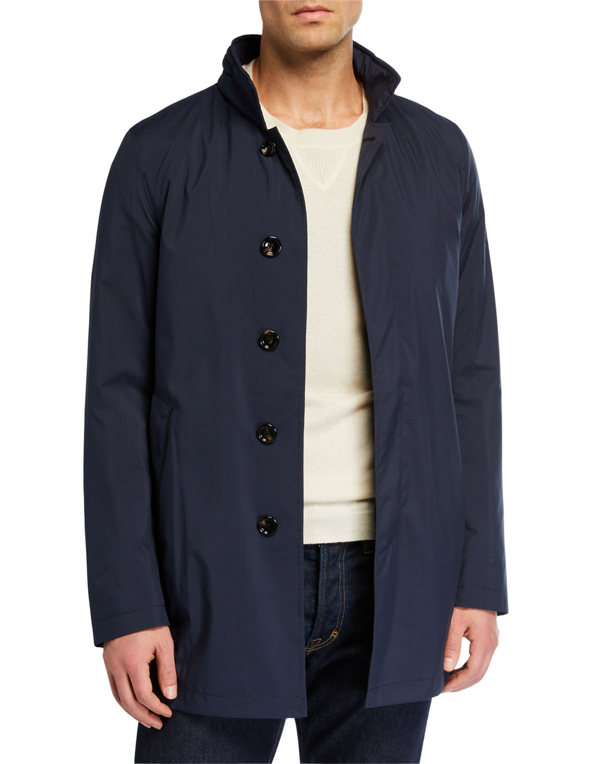 MANTO Men's Technical Stretch Raincoat in Navy Blue