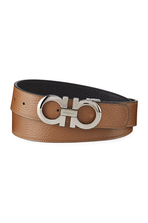 Salvatore Ferragamo Men's Gancini Reversible Pebbled Leather Belt