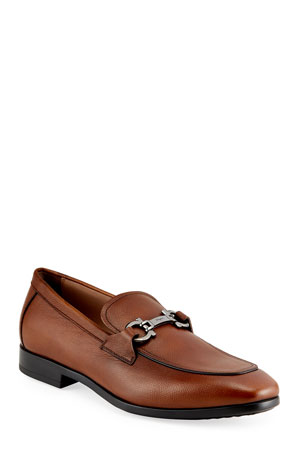 Salvatore Ferragamo Men's Pebbled Leather Gancini Loafers