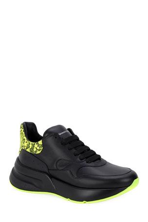 Alexander McQueen Men's Chunky Runner Sneakers w/ Neon Snake Back