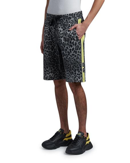 Dolce & Gabbana Men's Leopard Side-Stripe Track Shorts