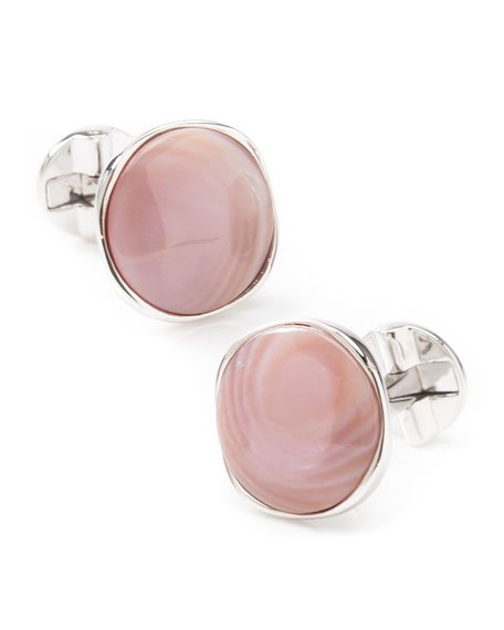 Image 1 of 3: Cufflinks Inc. Men's Sterling Silver Pink Mother-of-Pearl Cufflinks