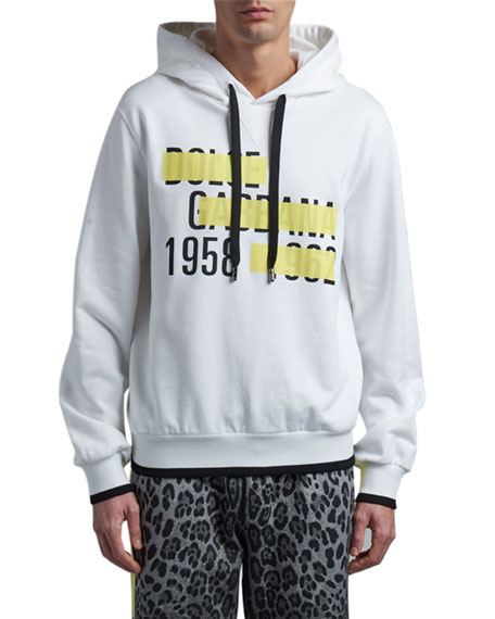 Dolce & Gabbana Men's Logo Tape Hoodie Sweatshirt