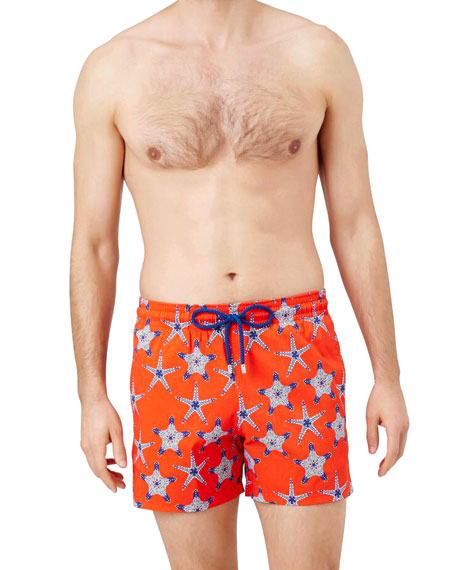 Vilebrequin Men's Moorise Starfish-Print Swim Trunks