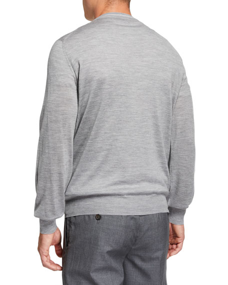 Image 2 of 2: Men's Cashmere Striped-Trim Sweater