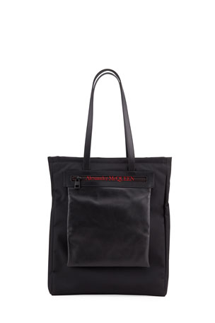Alexander McQueen Men's Logo Leather-Trim Tote Bag