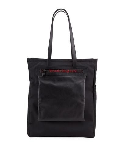 Men's Logo Leather-Trim Tote Bag
