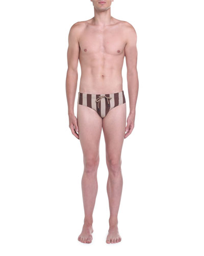 Men's Pequin-Stripe Drawstring Swim briefs
