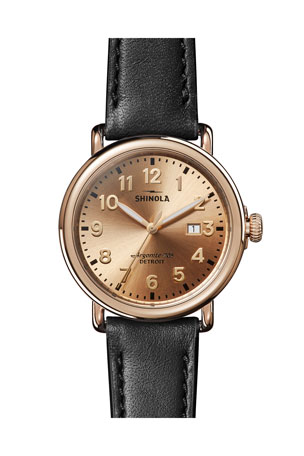 Shinola Men's 41mm Runwell 3HD Watch with Leather Strap