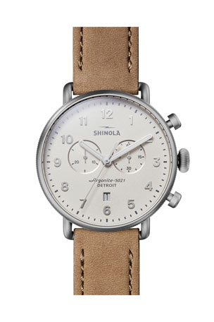 Shinola Men's 43mm Canfield 2-Eye Chronograph Leather Watch