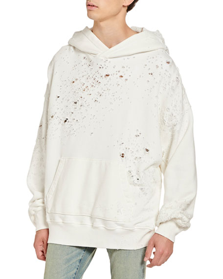 Amiri Men's Shotgun Distressed Oversized Hoodie Sweatshirt