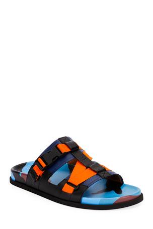 Valentino Men's Camouflage Double-Strap Slide Sandals