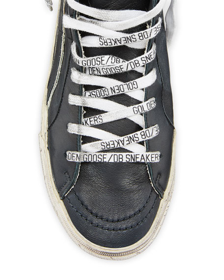 Image 2 of 4: Golden Goose Men's Slide Vintage Star Leather Mid-Top Sneakers with Logo Laces
