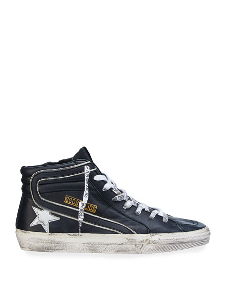 Image 3 of 4: Golden Goose Men's Slide Vintage Star Leather Mid-Top Sneakers with Logo Laces